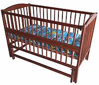 Дитяче ліжечко Веселка шарнір/підшипник відкидний бортик горіх
