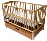 Дитяче ліжечко  Веселка шарнір/ящик підшипник відкидний бортик натуральний