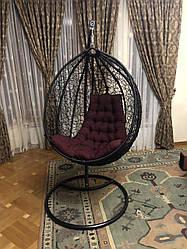 Подвесное кресло - качалка Gardens черный/бордовый 107х79 см Мебель Ротанг