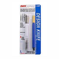 Нож макетный C-604P пластиковая ручка 8 сменных лезвий + 4 насадки DAFA