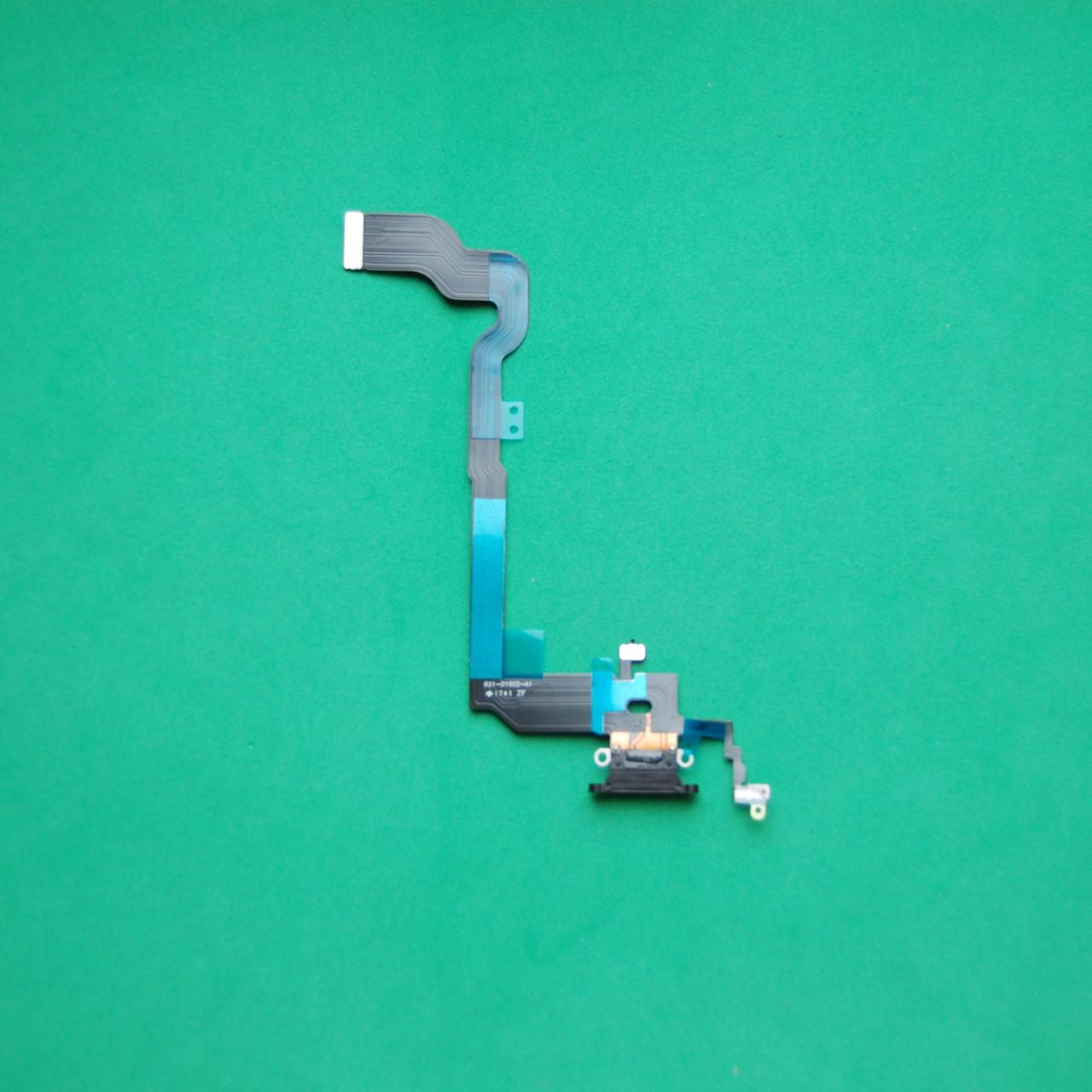 Шлейф Apple iPhone X коннектора наушников, коннектора зарядки черный