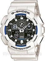 Часы CASIO G-Shock GA 100 белые с черным циферблатом