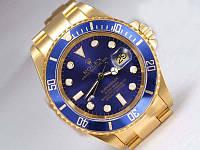 Часы мужские наручные Rolex Submariner золото-синие ролекс субмаринер копия