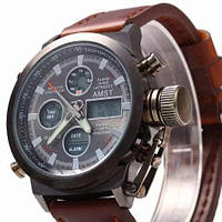 Наручные армейские часы АМСТ AMST коричневые