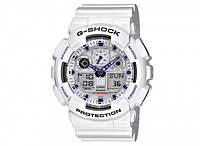 Часы CASIO G-Shock GA 100 белые с белым циферблатом