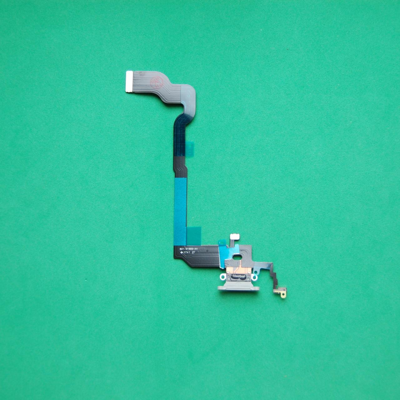 Шлейф Apple iPhone X коннектора наушников, коннектора зарядки белый