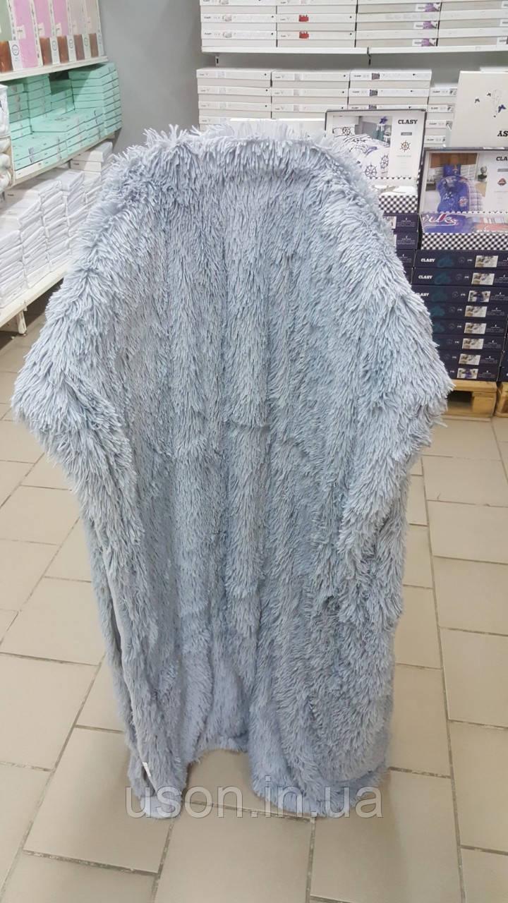 Плед с длинным ворсом меховой серый