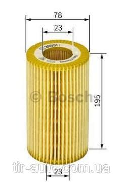 Фильтр масляный вставка H=196mm MB; MAN (BOSCH)