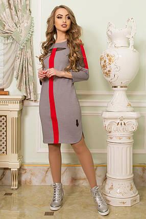 Красивое платье до колен полуприталенное прозрачные вставки длинный рукав серого цвета, фото 2