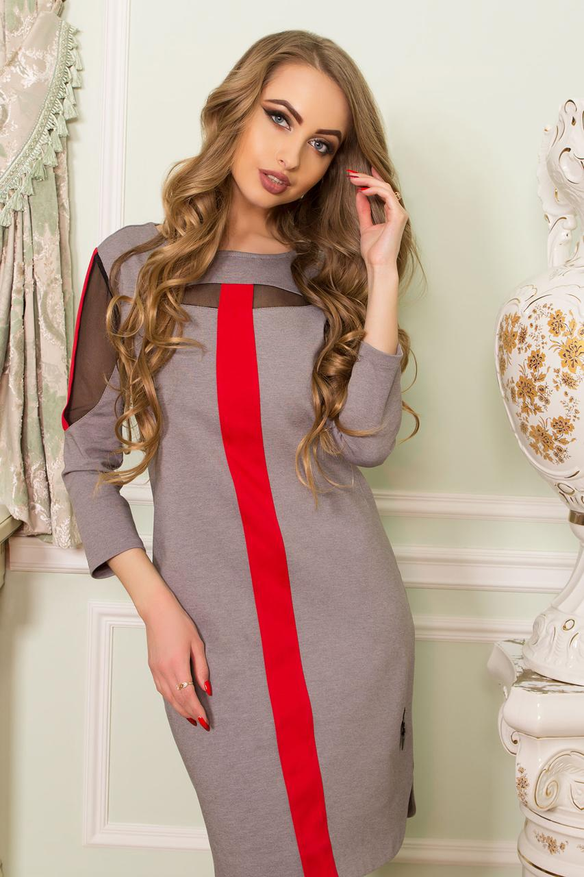 Красивое платье до колен полуприталенное прозрачные вставки длинный рукав серого цвета
