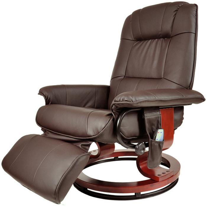 Кресло коричневое для отдыха с массажем + пуф + обогрев