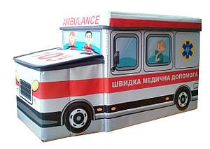 Дитячий пуф Автобус Швидка допомога