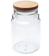 Банка стеклянная Everglass 900 мл. для хранения пищевых продуктов с деревянной крышкой.