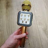 Микрофон караоке беспроводной wster ws 1818 Gold портативный, блютуз+колонка