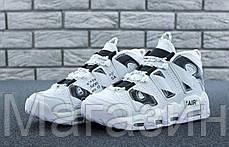 "Мужские кроссовки Off-White x Nike Air More Uptempo ""White/Black"" (Найк Аптемпо ОФФ Вайт) белые, фото 3"