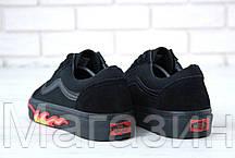 Мужские кеды Vans Old Skool 2020 Black Flame Fire (Ванс Олд Скул) в стиле черные с огнем, фото 2