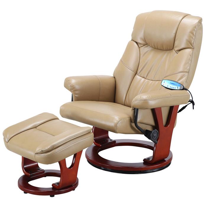 Кресло бежевое для отдыха с массажем + пуф + обогрев