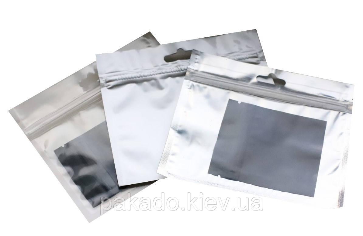 Пакет Саше 140х120 СЕРЕБРО zip-замок, европодвес  (для силиконовых приманок)