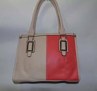 Женская  сумка комбинированная коралловая с бежевым