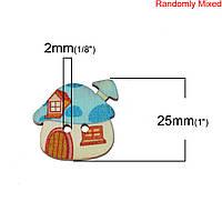 """Деревянная Пуговица, В форме """" Дома """", Домик, Грибок, Разные цвета, С двумя отверстиями, 25 мм x 23 мм, 10 шт."""