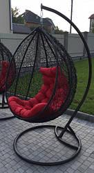 Подвесное кресло - качалка Gardens черный/красный 107х79 см Мебель Ротанг