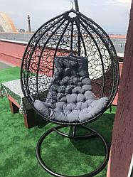 Подвесное кресло - качалка Gardens черный/серый 107х79 см Мебель Ротанг