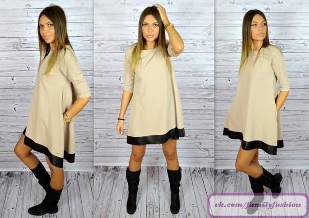Свободное платье с карманами и кожзамом