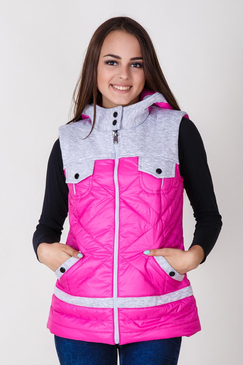 Розовая жилетка безрукавка с карманами на весну РАСПРОДАЖА