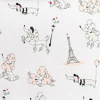 Простынь на резинке в детскую коляску BabySoon хлопок Париж пудра 80 х 40 см (244)