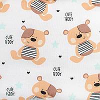 Простынь на резинке в детскую коляску BabySoon хлопок Мишки Тедди 80 х 40 см (247)