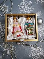 Набор стеклянных елочных игрушек Король и королева Irena, фото 3