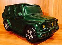 Копилка автомобиль джип, машина зеленого цвета