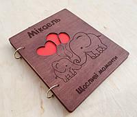 Дитячий фотоальбом з дерев'яною обкладинкою ручної роботи, фото 1