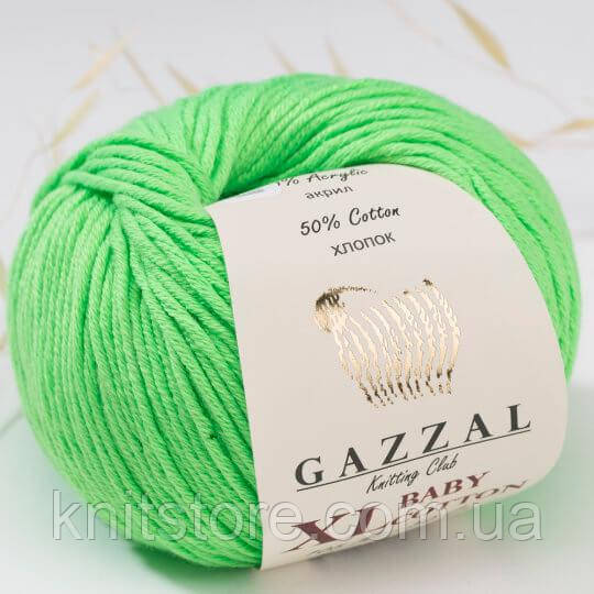 Пряжа Gazzal Baby Cotton XL Салатовый