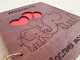 Дитячий фотоальбом з дерев'яна яною обкладинкою ручної роботи, фото 3