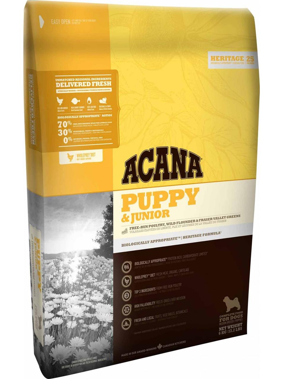 Сухой корм ACANA Puppy&Junior для щенков средних пород, 11,4 кг