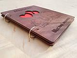 Дитячий фотоальбом з дерев'яна яною обкладинкою ручної роботи, фото 4
