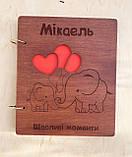 Дитячий фотоальбом з дерев'яна яною обкладинкою ручної роботи, фото 7