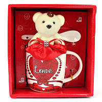 Подарочный набор керамическая чашка, ложка и мишка Love