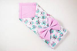 Конверт на выписку летний BabySoon Розовые совушки в очках 78см х 85см (551)