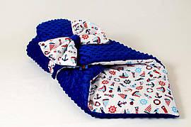 Зимовий плюшевий конверт - ковдра на виписку BabySoon Морячок 78 х 85 см (567)