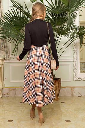Красивое платье миди приталенное юбка солнце клеш клетка длинный рукав черное с бежевым, фото 2