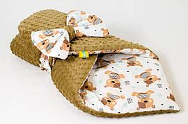 Зимовий плюшевий конверт - ковдра на виписку BabySoon Ведмедики Тедді 78 х 85 см (568)