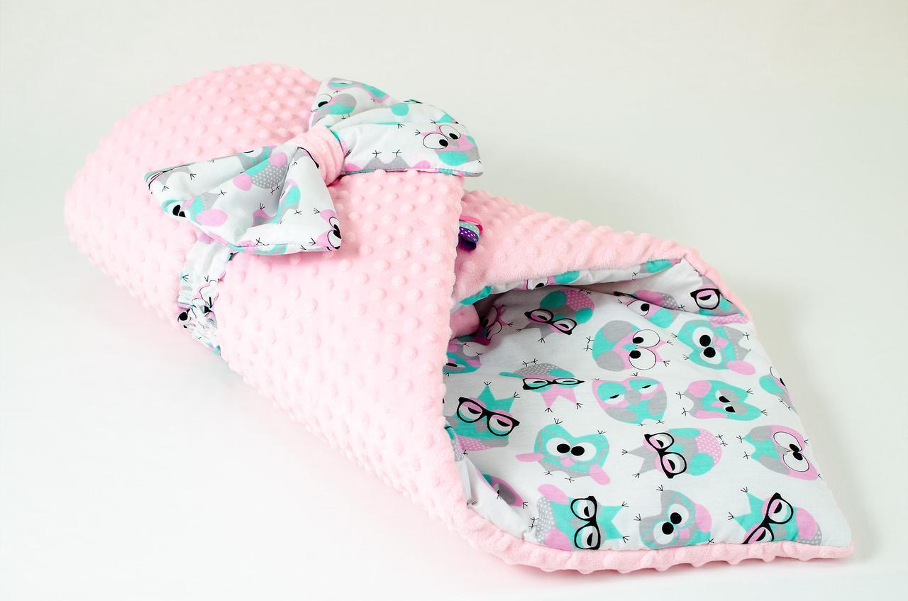 Зимний плюшевый конверт - одеяло на выписку BabySoon Розовые совушки в очках 78 х 85 см (569)