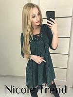 Молодежное платье из ангоры Иви темно-зеленое, женские платья