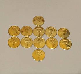 Жетоны (наклейки) Ника 2,5см золото
