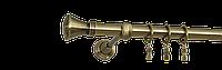 Карниз одинарный длина 240см диаметр 19мм цвет античное золото