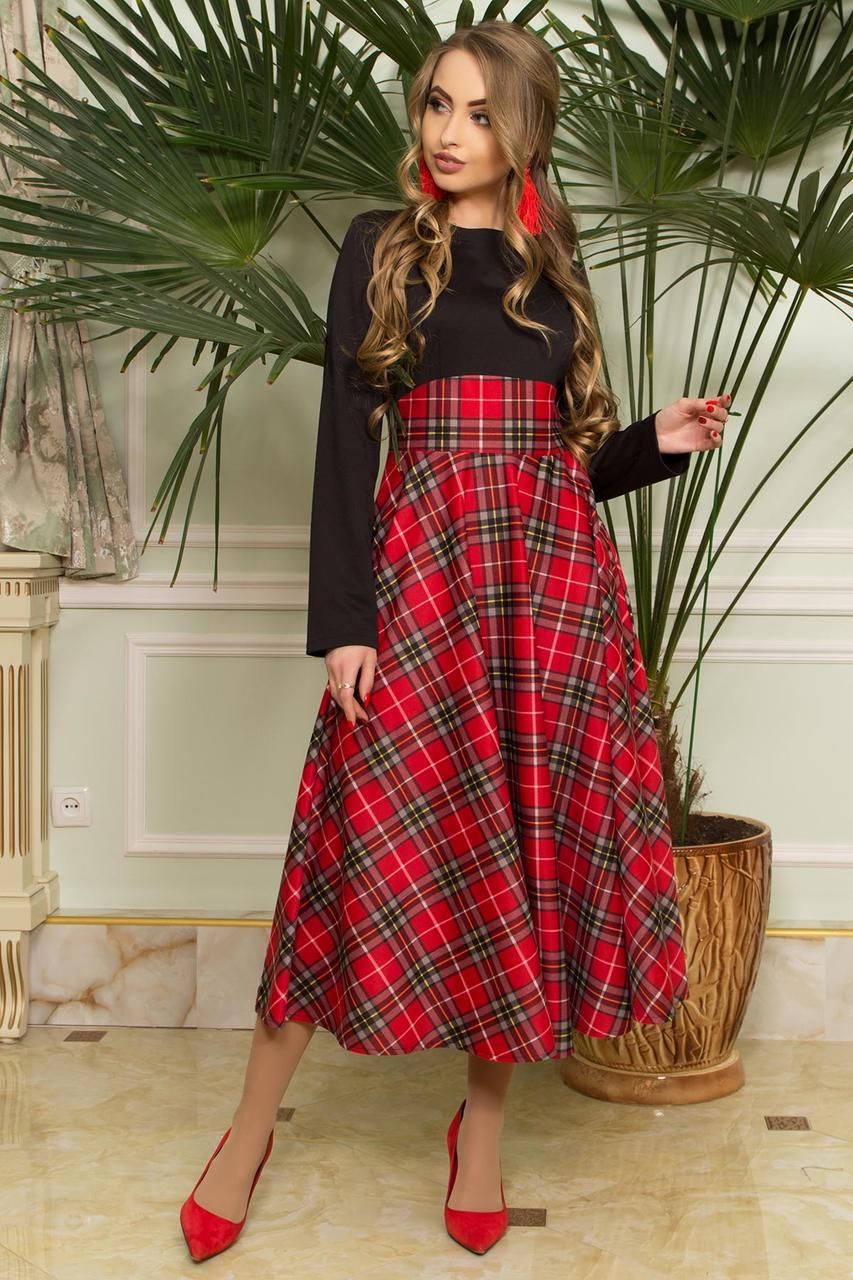 Стильное платье ниже колен приталенное юбка солнце клеш клетка длинный рукав черное с красным