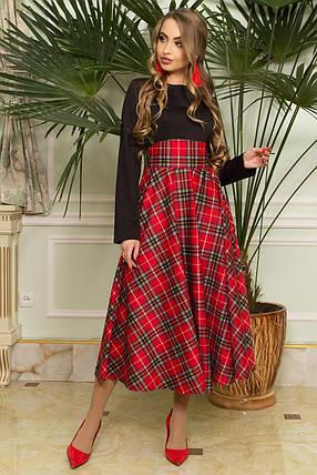 Стильное платье ниже колен приталенное юбка солнце клеш клетка длинный рукав черное с красным, фото 2