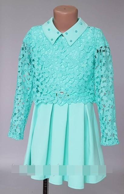 Шакирное платье для девочки с гипюровой кофточкой